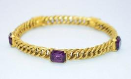 Purple Glass Rhinestone Heavy Braided Metal Gold Tone Bangle Bracelet - $24.74