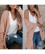 New boutique Salmon color fuzzy pocketed women's popcorn cardigan sweate... - $39.00