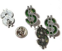 Green Dollar Sign Fine Pewter Pin - 7/8 inches long X 5/8 inches wide (T250) image 2