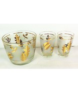 Frosted Gold Leaves Libby Ice Bucket 2 Glasses Mid Century Modern Autumn... - $23.75