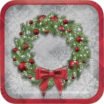 "Welcoming Wreath 8 Ct 9"" Luncheon Dinner Plates Christmas Holiday - $5.39"