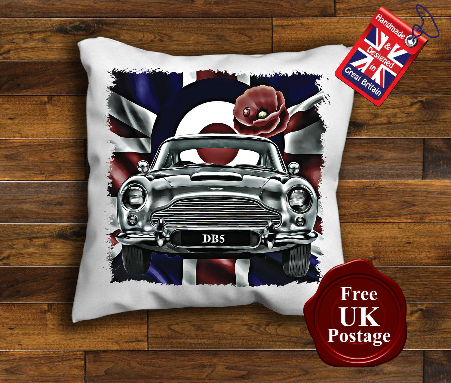Aston Martin DB5 Cushion Cover, Aston Martin DB5, Union Jack Cushion, Mod Tar... - $9.07 - $15.56