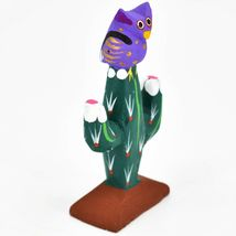 Handmade Alebrijes Oaxacan Wood Carved Painted Folk Art Owl w Cactus Figurine image 5