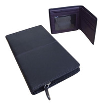 Mens 100% Leather Black Slim Bifold Wallet & Travel Document Holder for ... - $11.99+