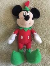 "Mickey Mouse Santa Christmas Elf Red Green Stuffed Animal Toy 8"" - $5.48"
