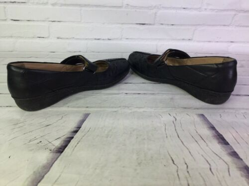 Clarks Womens Size 8 Grace Faye Black Leather Mary Jane Flats Shoes Soft Cushion