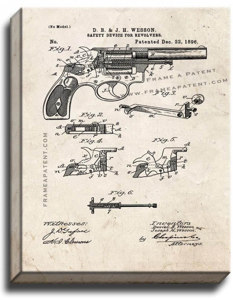 Primary image for Wesson Safety Device For Revolvers Patent Print Old Look on Canvas
