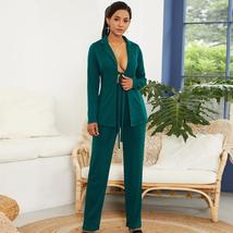Women's Stylish Green Blazer and Pants Fashion Wear To Work  Pant Suit