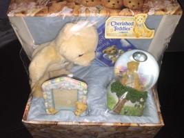Vintage Enesco Cherished Teddies 4 Piece Gift Set Memory Box Waterball B... - $26.99