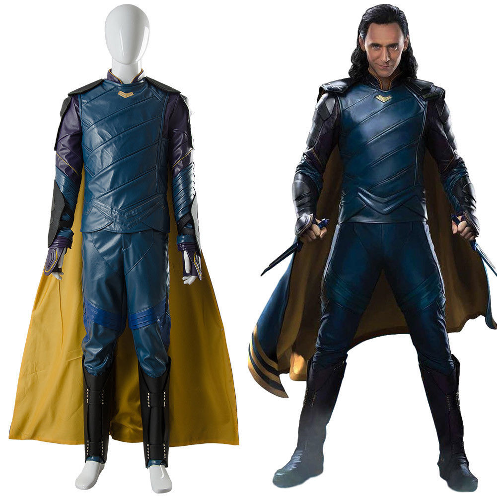 The Avengers Thor 3 Ragnarok Loki Tom Sakaar Suit Cape Cosplay Costume Outfit