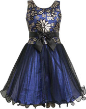 Bonnie Jean Big Girl Tween 7-16 Royal-blue Sequin Floral Mesh Overlay Dress