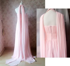 Baby Pink Halter Neck Sleeveless Maxi Cocktail Dress Chiffon Aline Evening Dress image 5