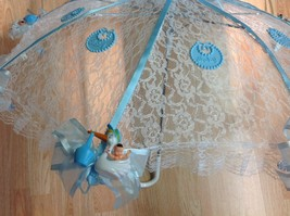 "36"" White Lace baby babies shower umbrella Blue  ducks & pacifiers - $27.71"
