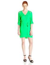 Xoxo Damen 3/4 Ärmel Gitter Detail V-Ausschnitt Kleid mit Gebundener Bund - $49.49