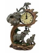 Ebros Wild Safari African Elephant Father and Calf Family Table Clock wi... - €27,80 EUR