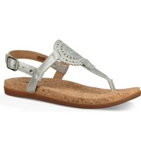 UGG Women Slingback Sandals Ayden II Metallic Size US 9 Silver Leather - $67.50