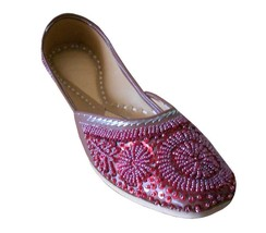 Women Shoes Punjabi Leather Indian Handmade Oxfords Red Mojari US 10 - £24.26 GBP