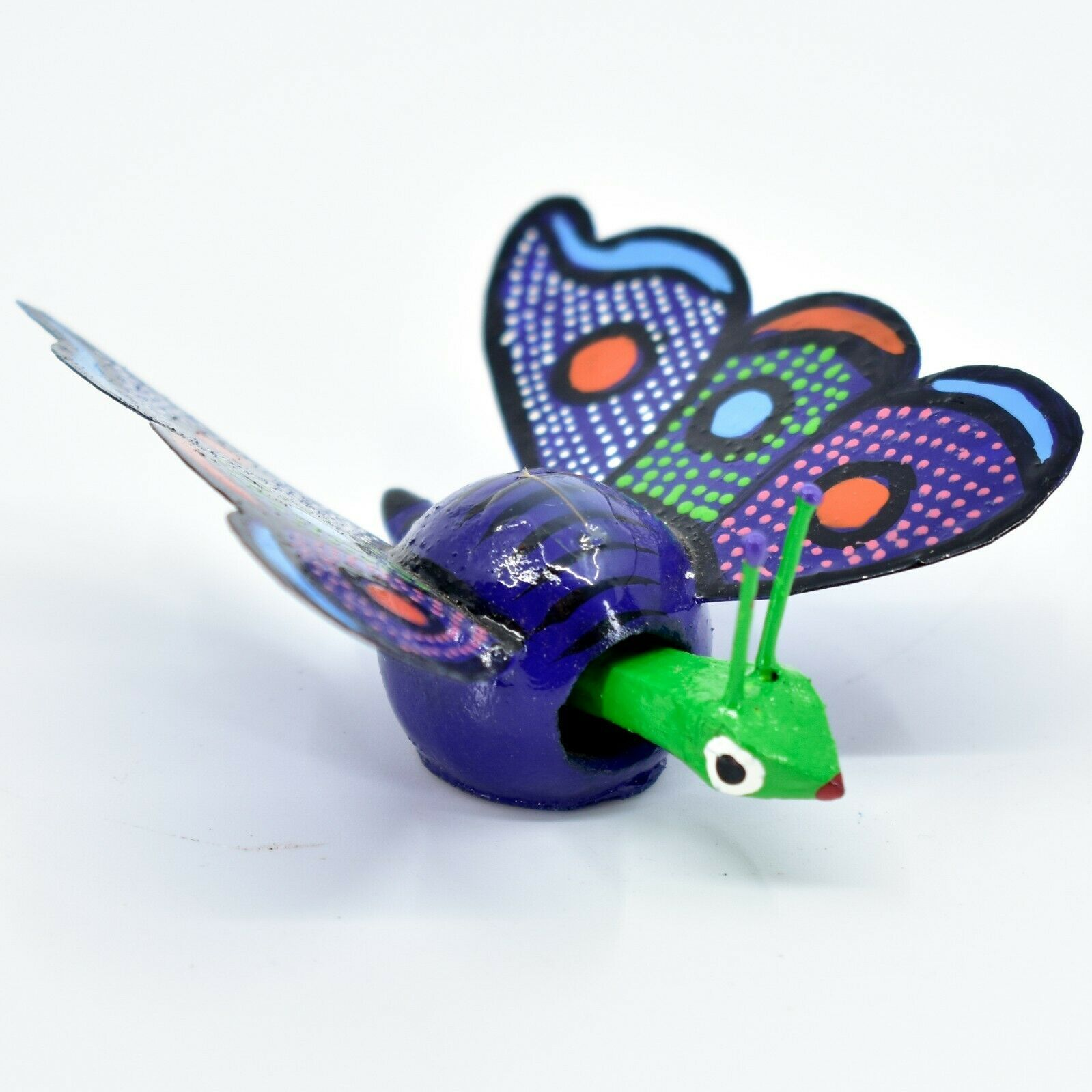 Handmade Alebrijes Oaxacan Wood Carving Folk Art Butterfly Bobble Head Figurine