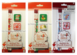The Elf On The Shelf* 4pc Kit Stationery Set Pencil+Erasers Holiday *You Choose* - $2.69