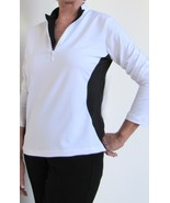 Stylish Women's Golf & Casual White Long Sleeve Mock Polo, Rhinestone Zi... - $29.95