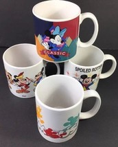 4  Mickey Minnie Mouse Coffee Cup Mugs Disney Through the Years Spoiled 80s 90s - $20.48