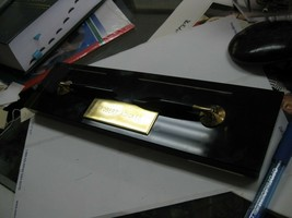 Vintage Stainless Cross Pen Set W/ Desktop Holder .smooky glass baase/,.120 - $17.00