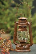 Rustic Tin Railroad Lantern Vintage Style Glass Chimney - $34.00
