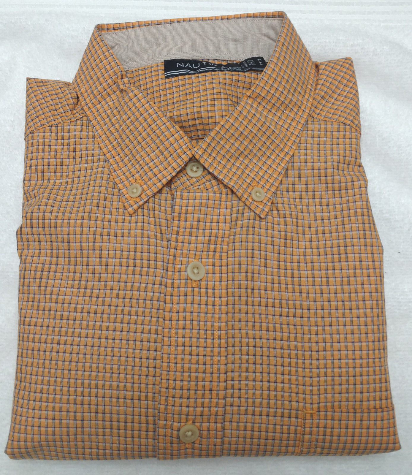Nautica Men's Mini-Plaid Long Sleeve Dress Shirt Orange Sorbet Medium