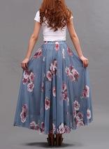 Summer MAXI Floral SKIRT Women White Flower Maxi Chiffon Skirt Long Beach Skirt image 9