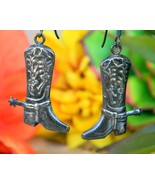 Vintage Sterling Silver Cowgirl Cowboy Boot Spurs Earrings 925 Dangles - $18.95