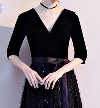 Women Half Sleeve Velvet Maxi Dress High Waist Formal Dress, Black, Plus Size image 7