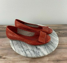 Clarks Artisan Womens Size 6 Metallic Red Perforated Leather Bow Toe Bal... - $39.95