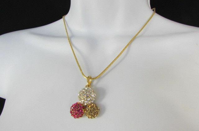 Damen Kurze Modische Halskette Metall 3 Bälle Silber Gold Strass Anhänger Bling
