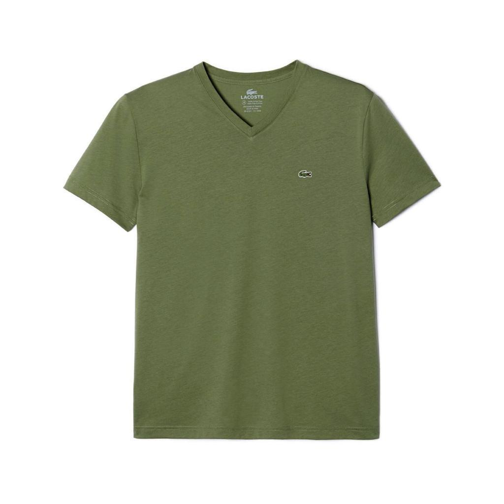 NEW LACOSTE MEN'S SPORT ATHLETIC PIMA COTTON V-NECK SHIRT T-SHIRT PAMPA GREEN