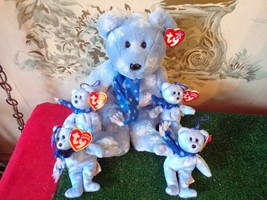 "Beanie Babies Set-1999 Holiday Teddy 1-9"" & 4 5.5""-Christmas Ice Blue w tags - $14.85"