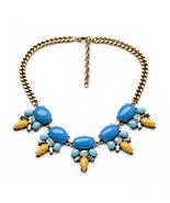 Brand Retro Flower Pendant Necklace All-match Vintage Fresh Blue Necklac... - $14.97