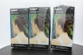 3 Pack! Conair Mini Buns, Black & Brown, 8 Pieces Each - $14.84
