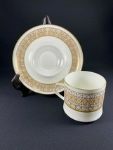 Retired Mikasa Lacerna Cup & Saucer Set Bone China Gold Silver Green-8 A... - $9.85
