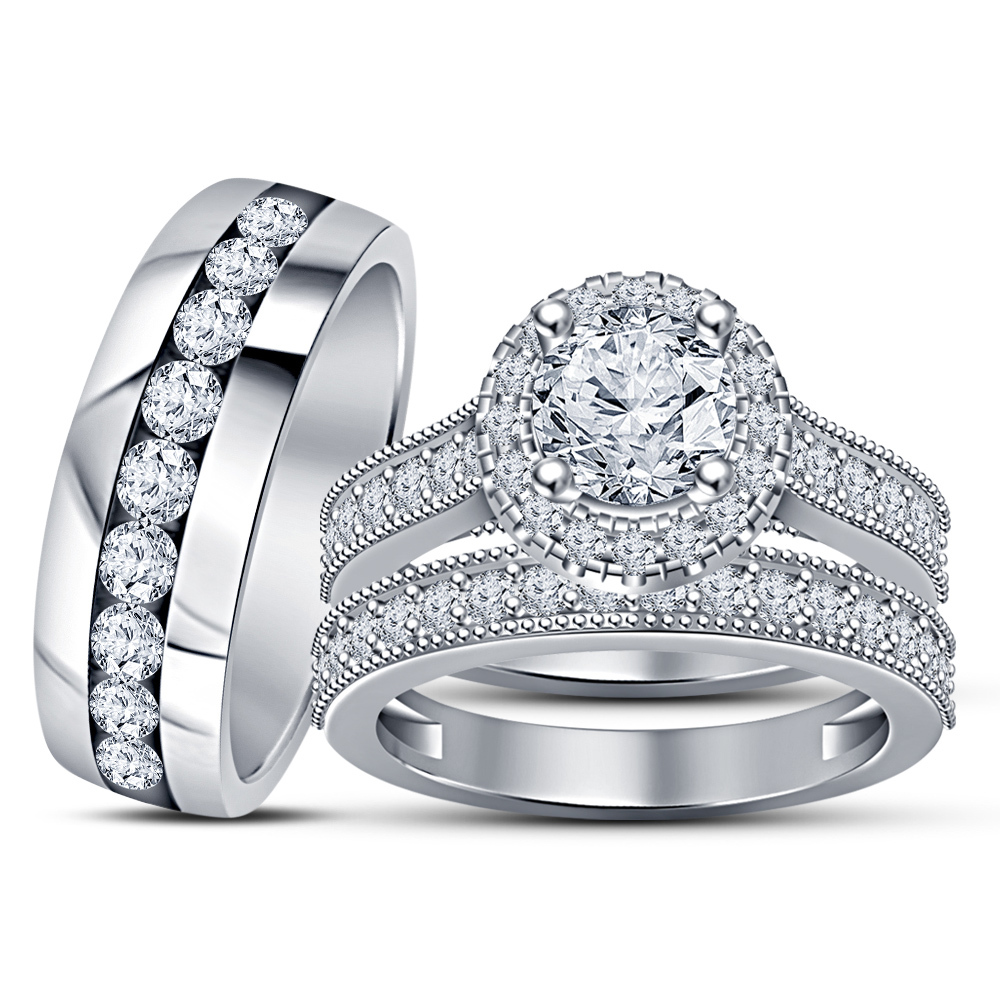 Round Cut Sim Diamond 14k White Gold Plated 925 Silver Mens Ladies Trio Ring Set - $157.99