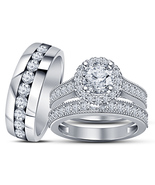 Round Cut Sim Diamond 14k White Gold Plated 925 Silver Mens Ladies Trio Ring Set - $132.71