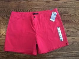 New Lee 18 M Khaki Shorts Midrise Fit Hibiscus Pink Cotton Stretch K2 - $18.22