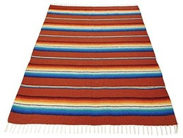 New Blanket Throw Sarape Bed Cover Terracota Mexico Beach Yoga Mat Trave... - $29.65