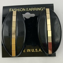 Vintage 1980s Large Earrings Shiny Tile Mirror Strip Gold Tone Black NOS... - $11.10