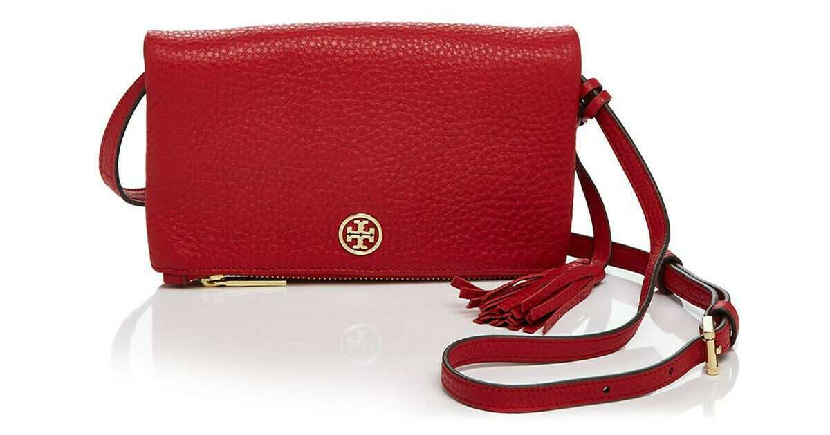 Primary image for NWT Tory Burch Robinson Leather Foldover Crossbody Bag Royal RED $240 AUTHENTIC