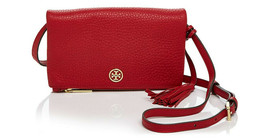 NWT Tory Burch Robinson Leather Foldover Crossbody Bag Royal RED $240 AU... - $144.00