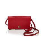 NWT Tory Burch Robinson Leather Foldover Crossbody Bag Royal RED $240 AU... - $144.00