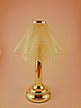 Venetian Tealight Lamp Brass Frosted Glass Handkerchief Shade Partylite ... - $24.75
