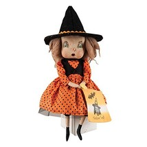 Holiday Decor Felicity Witch Girl Fabric Hand Painted Figurine with Intr... - $48.08