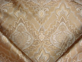 8-1/8Y PIERRE FREY SILVER GOLD FLORAL SCROLL SILK DAMASK UPHOLSTERY FABRIC - $225.72