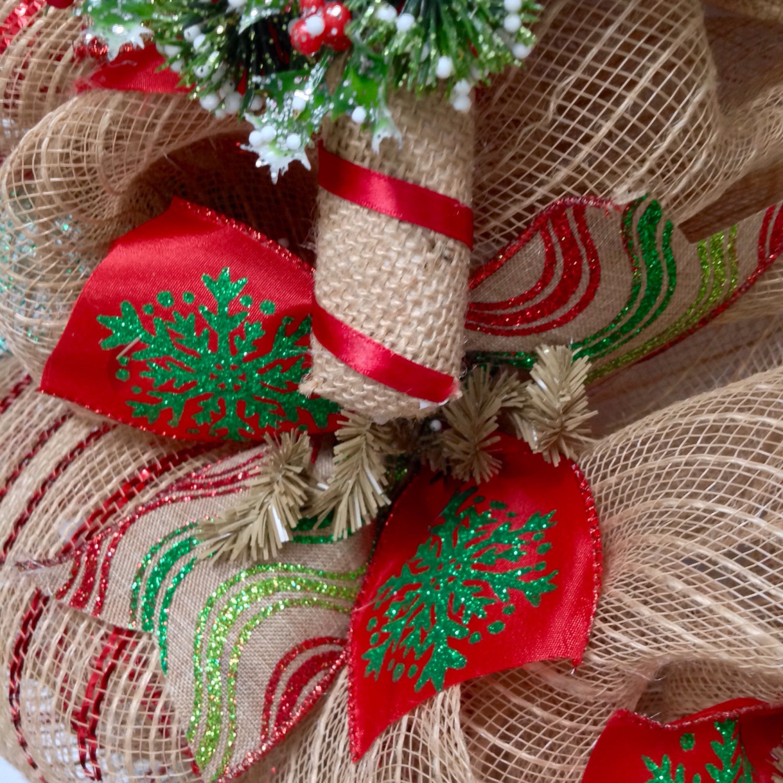 Burlap Candy Cane Deco Mesh Handmade Christmas Wreath